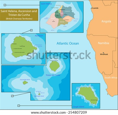 Saint Helena, Ascension and Tristan da Cunha is a British Overseas Territory in the southern Atlantic Ocean - stock vector