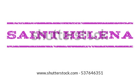 Saint Helena watermark stamp. Text caption between horizontal parallel lines with grunge design style. Rubber seal stamp with scratched texture. Vector violet color ink imprint on a white background.