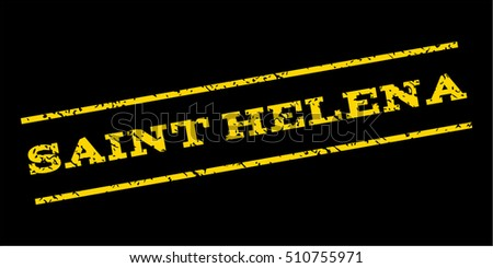 Saint Helena watermark stamp. Text caption between parallel lines with grunge design style. Rubber seal stamp with unclean texture. Vector yellow color ink imprint on a blue background.