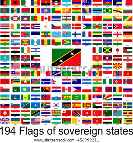 Saint Kitts and Nevis, collection of vector images of flags of the world