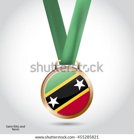 Saint Kitts and Nevis Flag in Bronze Medal. Vector Illustration - stock vector