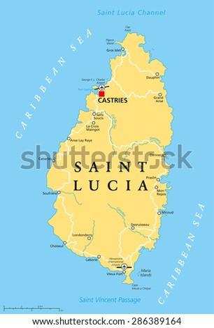 Saint Lucia Political Map Capital Castries Stock Vector 286389164