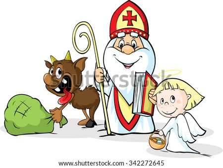 Saint Nicholas, devil and angel - vector illustration isolated on white background. During the Christmas season they are warning and punishing bad children and give gifts to good children. - stock vector