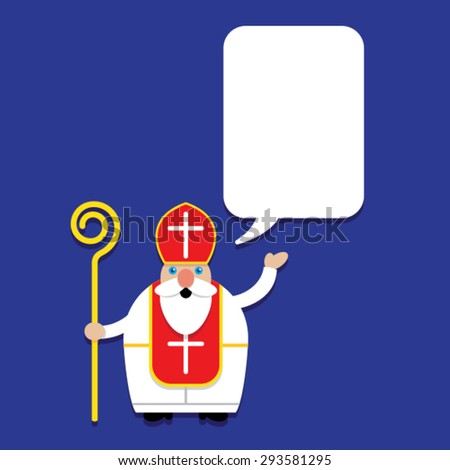 Saint Nicholas with Talking Bubble - stock vector