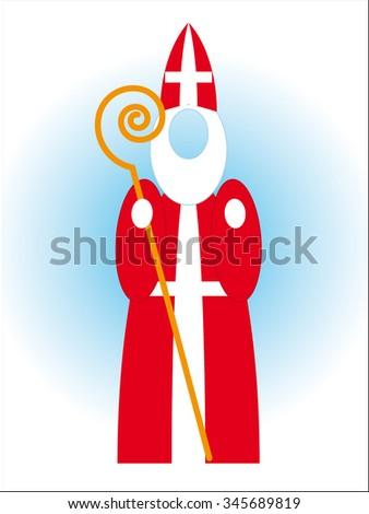 Saint Nicolas - Bishop Mikulas - Czech Christmas tradition - empty head vector design - stock vector