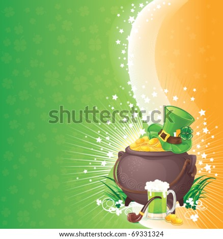 Saint Patrick's Day background with symbols of Ireland.