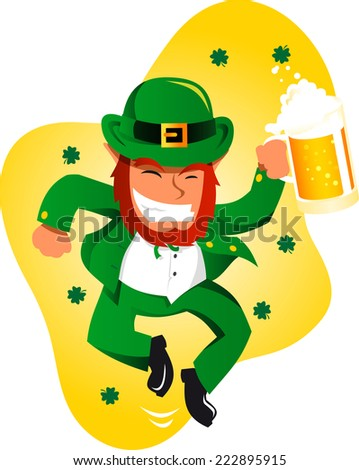 Saint patrick�´s Day cartoon elf dance - stock vector