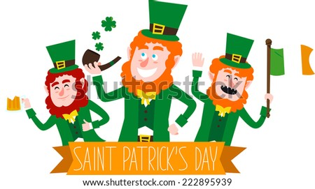 Saint patrick�´s Day cartoon elves banner - stock vector