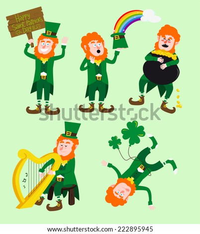 Saint patrick�´s Day cartoon elves collection - stock vector