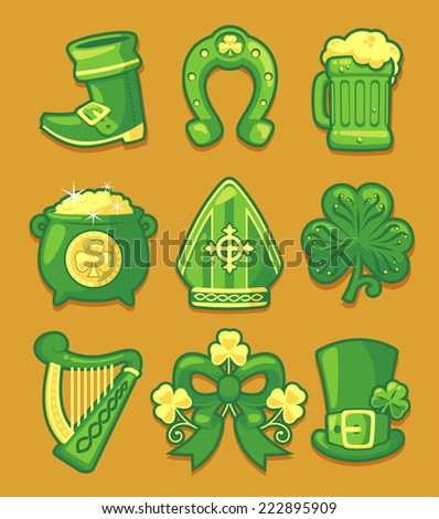 Saint patrick�´s Day cartoon icon illustration set - stock vector