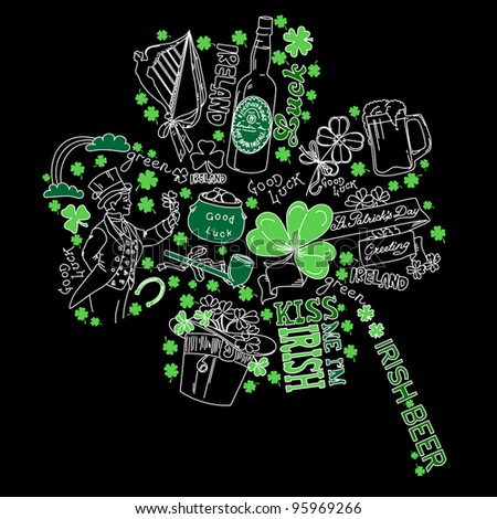 Saint Patrick's Day doodles in the shape of clover with four leaves - stock vector