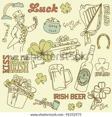 Saint Patrick's Day doodles - vintage style - stock vector
