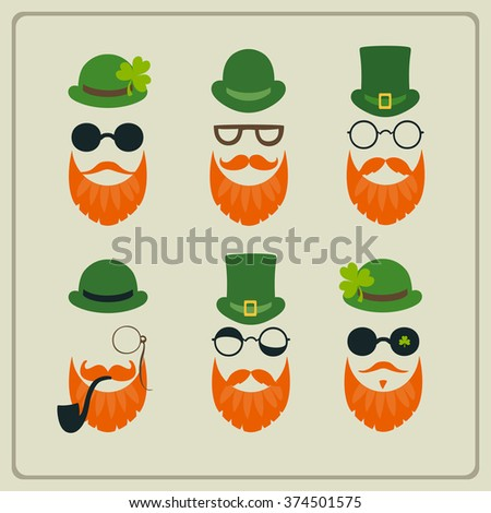 Saint Patrick's Day set of characters leprechaun with green hat, red beard, smoking pipe,  and glasses - stock vector