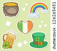 Saint Patrick's Day stickers elements, bowler with golden coins, rainbow, irish flag, mug of beer and leprechaun hat with lucky clover on dot background - stock vector