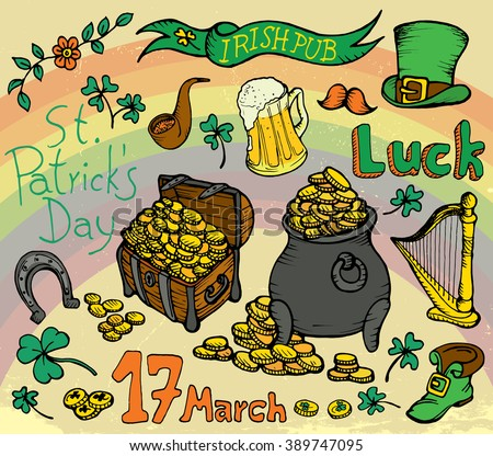 Saint Patrick's Day traditional symbols collection doodle. Irish beer mug, clover, pub decoration, leprechaun hat, pot of gold coins, horseshoe. Hand drawn vector illustration isolated background