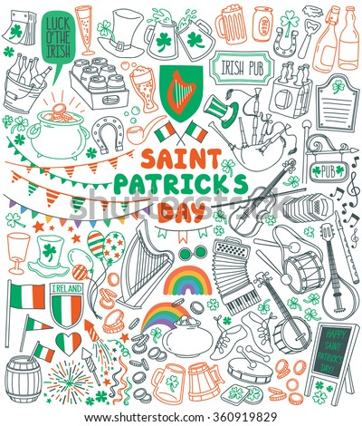 Saint Patrick's Day traditional symbols collection. Irish music, flags, beer mugs,  clover, pub decoration, rainbow, leprechaun hat, pot of gold coins. Vector illustration isolated on white background - stock vector