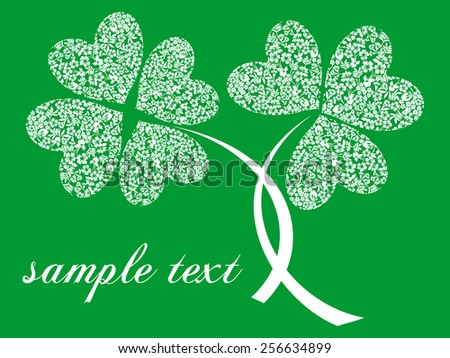 Saint Patrick's Day Typographical Background with place for your text. White and green color. Vector Version. - stock vector
