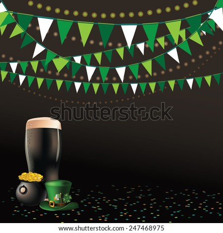 Saint Patricks Day dark beer party background EPS 10 vector royalty free stock illustration perfect for advertising, poster, announcement, invitation, party, greeting card, festival, parade - stock vector
