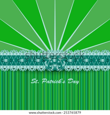 Saint Patricks Day design with lacy green ribbon and bow. Vector illustration. - stock vector