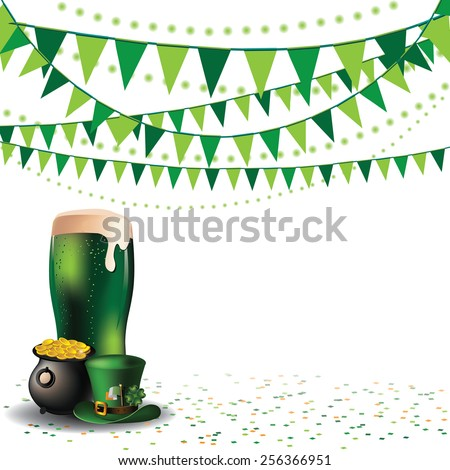 Saint Patricks Day green beer party background EPS 10 vector royalty free stock illustration for advertising, poster, announcement, invitation, party, greeting card, festival, parade, social media - stock vector