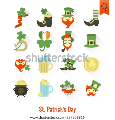 Saint Patricks Day Isolated Icon Set. Vector. Clean Work Minimum Points - stock vector
