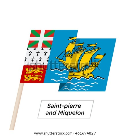 Saint-pierre and Miquelon Ribbon Waving Flag Isolated on White. Vector Illustration. Saint-pierre and Miquelon Flag with Sharp Corners