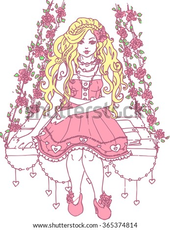 Saint Valentineu0027s Day Card Beautiful Cute Kawaii Girl Vector Portrait Hand  Drawn In Color