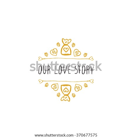 Saint Valentine's day greeting card.  Our love story. Typographic banner with doodle heart shaped chocolate candies. Vector handdrawn badge. - stock vector