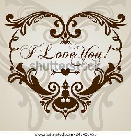 Saint Valentine's Day's Vintage card, Vector Illustration  - stock vector