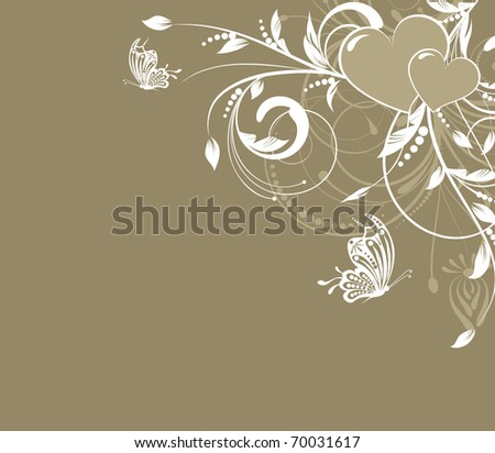 saint valentines day heart floral abstract background with butterfly - stock vector