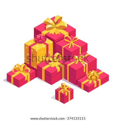 Saint Valentines day red gift boxes with yellow ribbon bows. Pile of bright presents. Flat isometric illustration on white background. - stock vector
