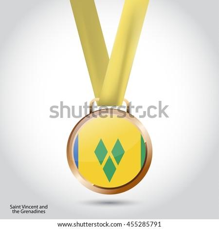 Saint Vincent and Grenadines Flag in Bronze Medal. Vector Illustration - stock vector