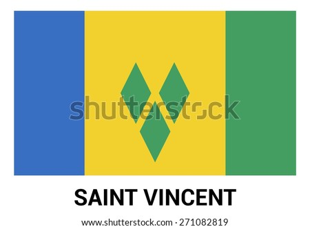 Saint Vincent flag isolated vector in official colors and Proportion Correctly. country's name label in bottom - stock vector