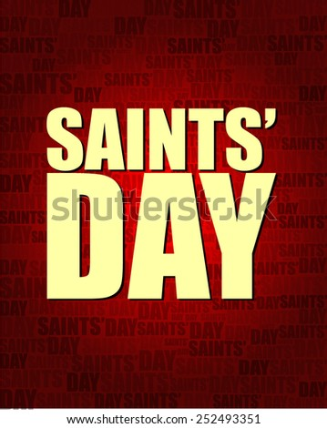 Saints Day with same text on red gradient background.