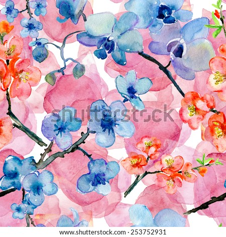 sakura and orchid flowers. seamless watercolor pattern - stock vector