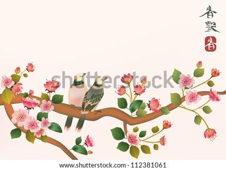 sakura , bird . - stock vector