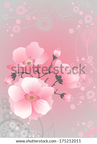 sakura blossom, pink background - stock vector
