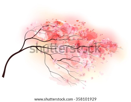 Sakura branch, spring floral background