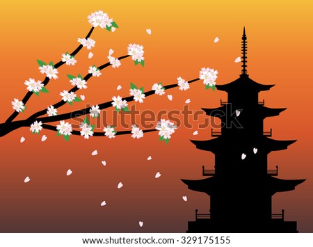 sakura cherry blossom branches with pagoda silhouette background vector - stock vector
