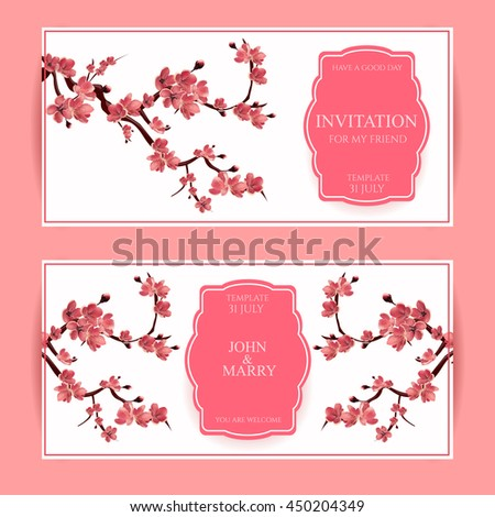 Sakura, Cherry Blossoming Tree Vector Card Illustration. Set of Beautiful Floral Banners, Greeting cards, Wedding Invitations, Backdrops, Backgrounds, Vouchers .
