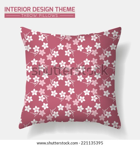 Sakura Cherry Decorative Throw Pillow design template. Original pattern is complete, masked. Modern interior design element. Vector design is layered. Editable eps10 contains the pattern swatch. - stock vector