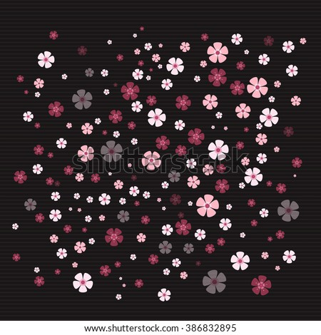 Sakura cherry flowers randomly placed on black striped background. Japanese Sakura tree flower background. Spring beautiful cherry blossom concept. Spring blooming flower in different color and shades - stock vector