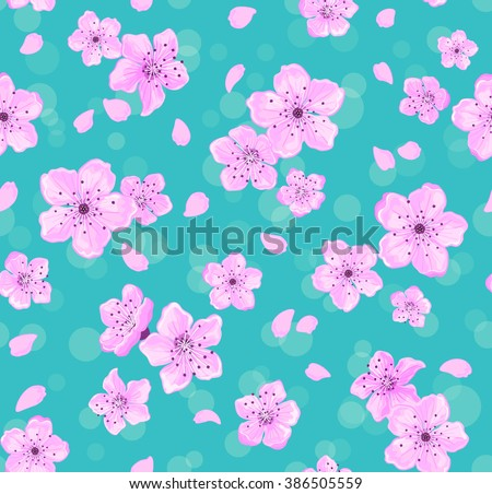 Sakura Flowers Seamless Pattern. Floral Seamless Texture. Spring Background with Cherry Blossom - stock vector
