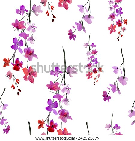 sakura flowers. seamless pattern. Vector background. - stock vector