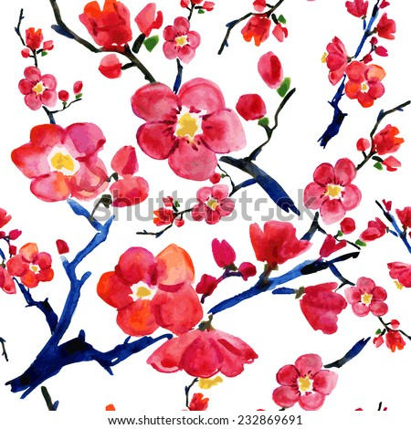 sakura flowers. seamless vector  pattern. watercolor painting. - stock vector