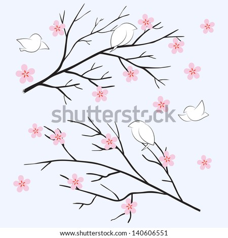 Sakura spring cherry - stock vector