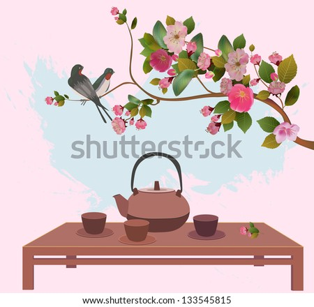 Sakura . Tea ceremony.Menu - stock vector