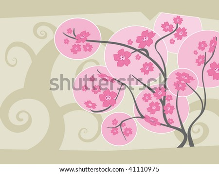 Sakura tree in full bloom - vector
