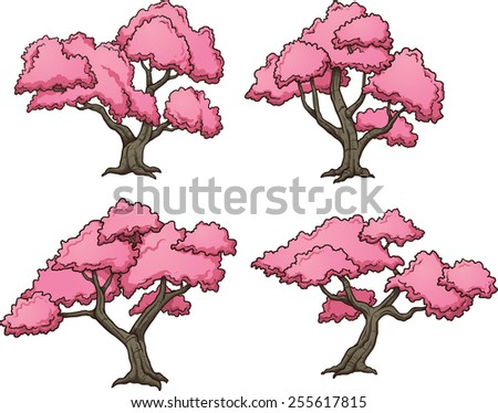 Sakura trees. Vector clip art illustration with simple gradients. Each on a separate layer. - stock vector