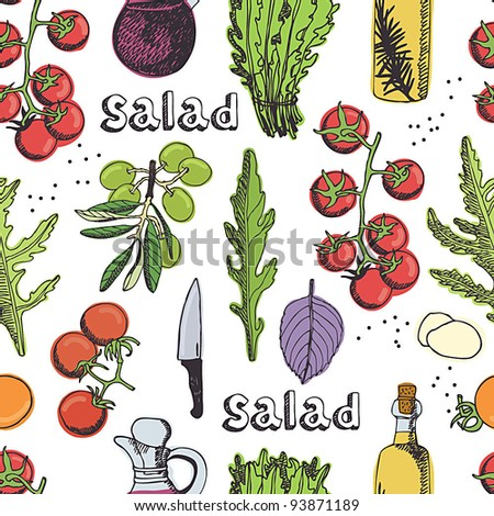 Salad seamless background - stock vector